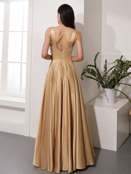 Elegant V Neck Open Back Golden Long Prom Dresses with Leg Slit, V Neck Golden Formal Graduation Evening Dresses, Golden Party Dresses