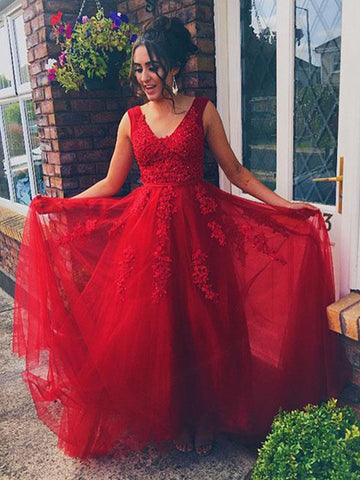 Elegant V Neck Red Lace Long Prom Dresses, Red Lace Formal Dresses, Red Evening Dresses