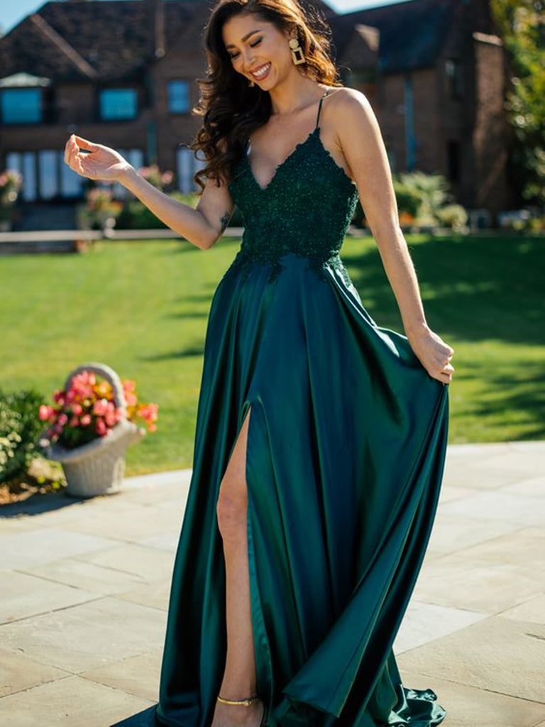 Elegant V Neck Spaghetti Straps Dark Green Lace Long Prom Dresses with Slit, Dark Green Lace Formal Dresses, Green Evening Dresses