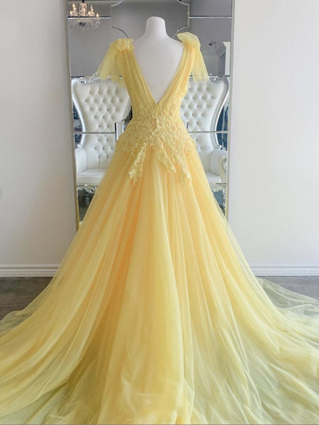 Elegant V Neck and V Back Yellow Lace Long Prom Dresses, Yellow Lace Formal Graduation Evening Dresses