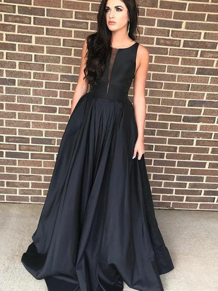 Elegant A Line Satin Black Prom Dresses, Black Formal Dresses, Black Evening Dresses