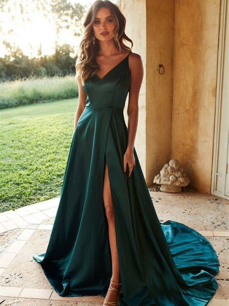 A Line V Neck High Split Green Satin Long Prom Dresses with Train, Green Formal Dresses, Evening Dresses 2019