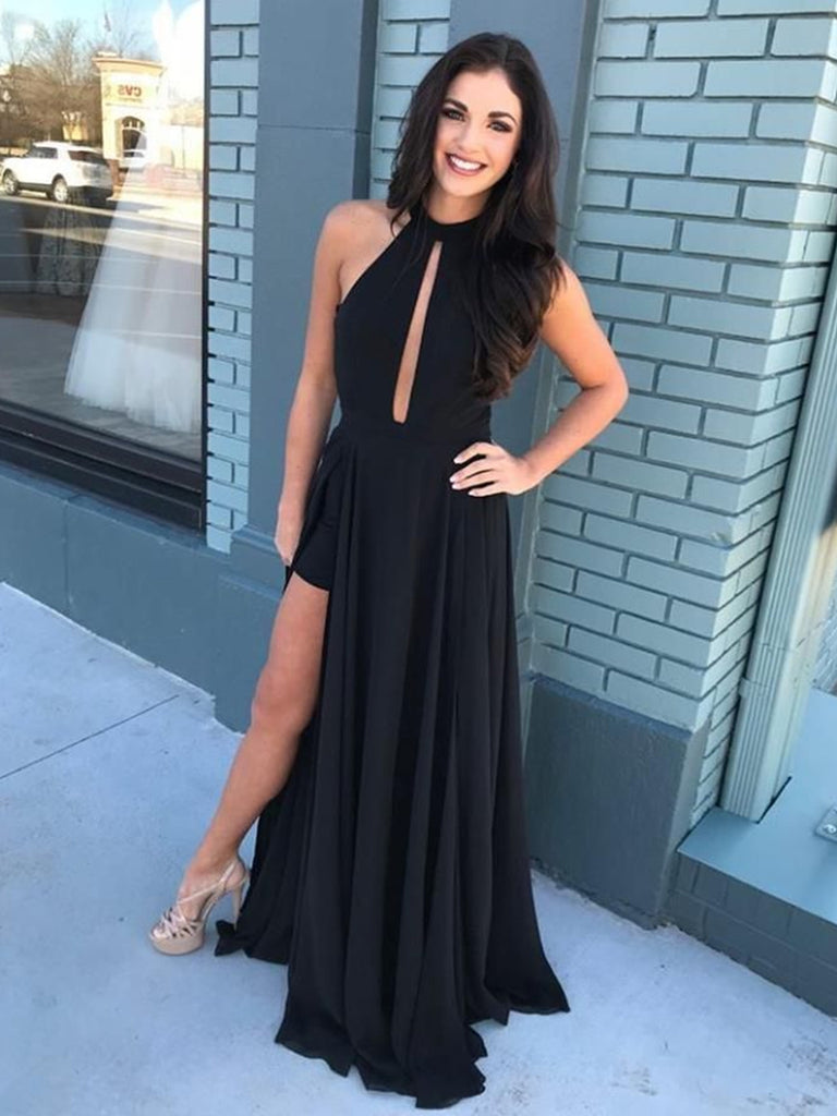 Elegant Black Keyhole Neck Chiffon Long Prom Dresses with High Split, Black Formal Dresses, Evening Dresses