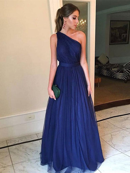Elegant Dark Blue A Line One Shoulder Tulle Long Prom Dresses, Dark Blue Formal Dresses, Evening Dresses