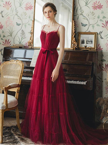 Elegant Burgundy Tulle Long Prom Dresses, Unique Burgundy Formal Graduation Evening Dresses