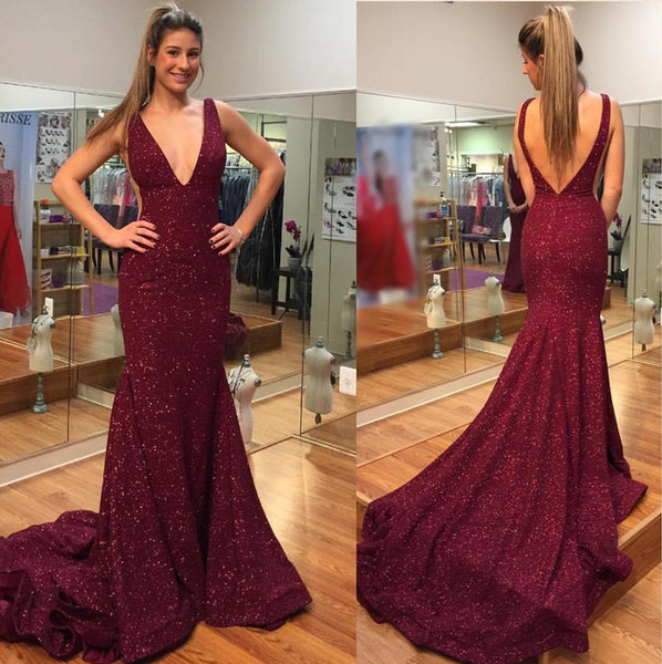 Elegant Burgundy V Neck Mermaid Backless Sequins Long Prom Dresses with Sweep Train, Mermaid Burgundy Formal Dresses, Evening Dresses