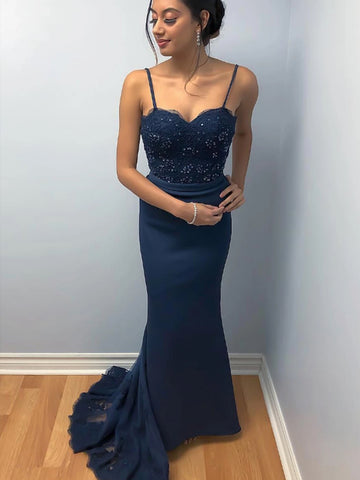 Elegant Mermaid Backless Lace Beaded Navy Blue Prom Dresses, Mermaid Backless Navy Blue Lace Formal Dresses, Mermaid Navy Blue Lace Evening Dresses
