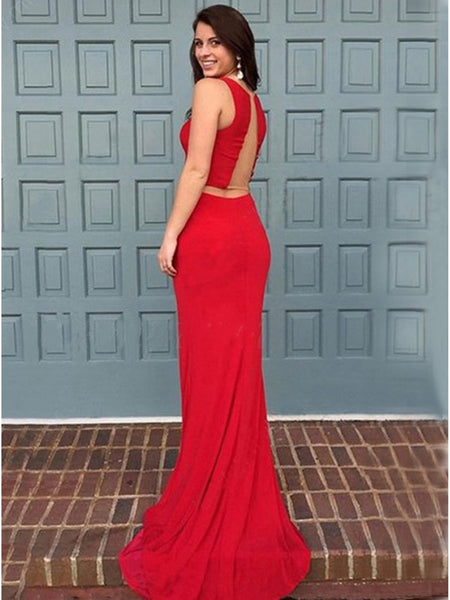 Elegant Mermaid Two Pieces Scoop Neck Red Long Prom Dresses with Ruffles Sweep Train, Mermaid Red Formal Dresses, Red Evening Dresses