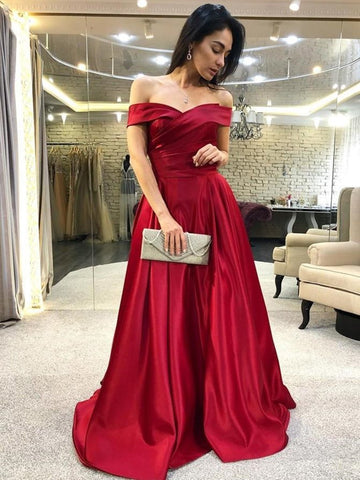 Elegant Off Shoulder Burgundy Satin Long Prom Dresses, Off the Shoulder Burgundy Formal Graduation Evening Dresses
