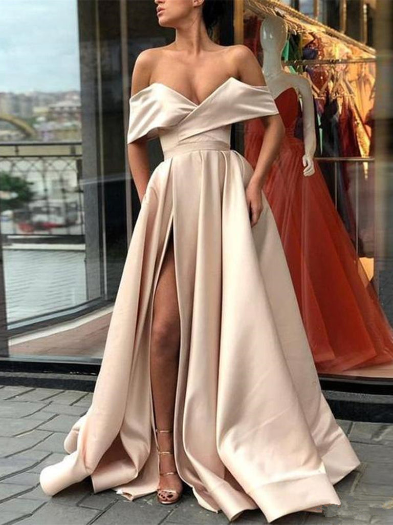 Elegant Off Shoulder Satin Champagne Long Prom Dresses with Slit, Champagne Formal Dresses, Evening Dresses