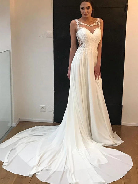 Elegant Round Neck Lace White Chiffon Wedding Prom Dresses, White Lace Formal Dresses, White Evening Dresses