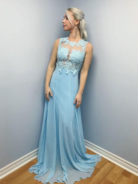 Elegant Sky Blue A Line Lace Long Prom Dresses, Sky Blue Lace Formal Graduation Evening Dresses