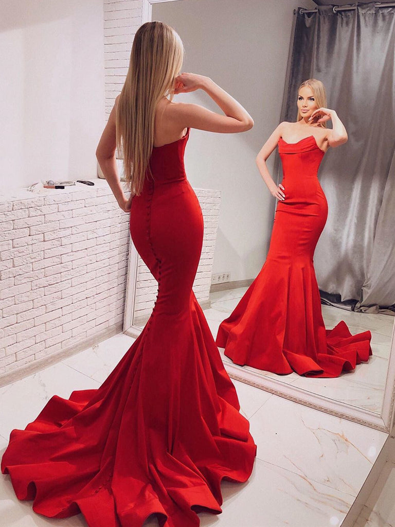 Elegant Strapless Mermaid Red Long Prom Dresses with Train, Mermaid Red Formal Dresses, Red Evening Dresses