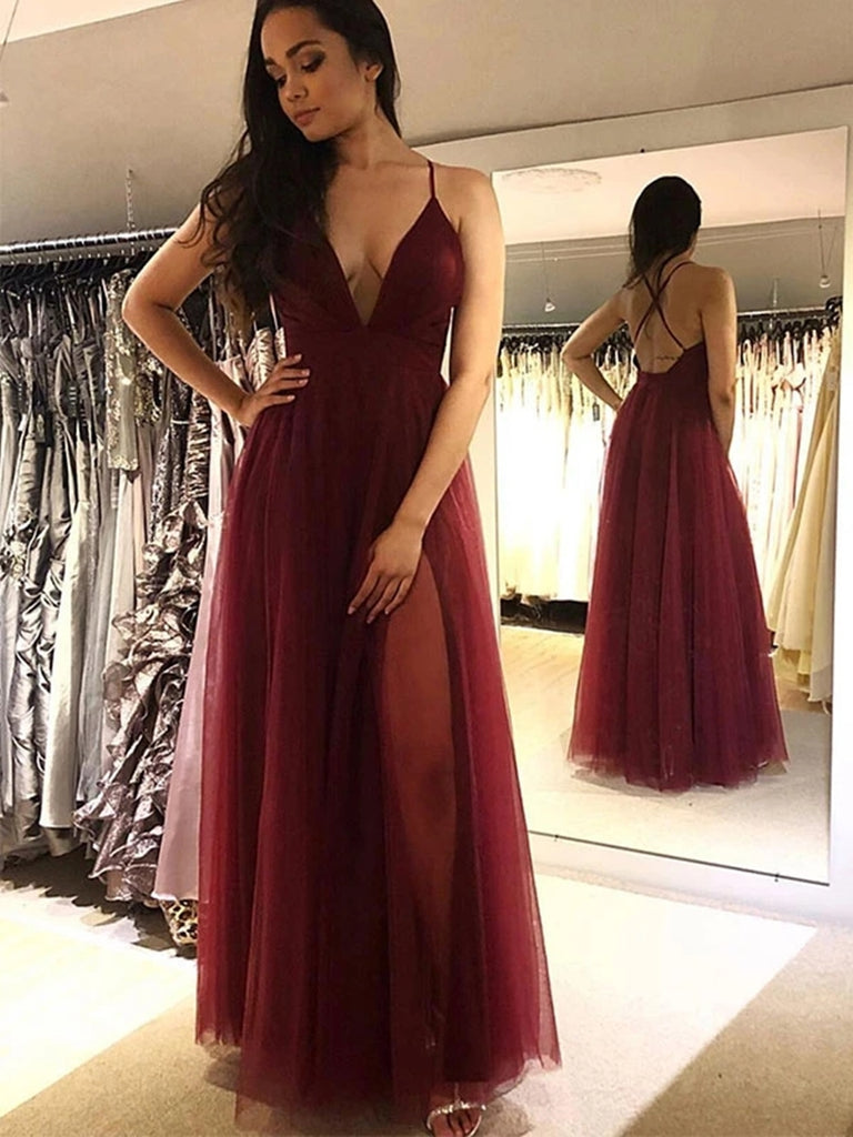 Elegant V Neck Backless Burgundy Tulle Long Prom Dresses, Simple V Neck Burgundy Formal Dresses, Cheap Burgundy Evening Dresses