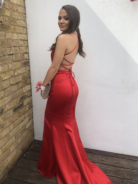 Elegant V Neck Backless Mermaid Pleated Red Prom Dresses with Slit, Halter Neck Red Mermaid Formal Dresses, Red Evening Dresses