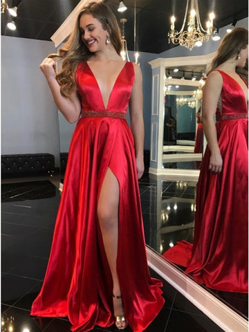 Elegant V Neck Red Satin Long Prom Dresses 2020 with High Slit, V Neck Red Formal Graduation Evening Dresses