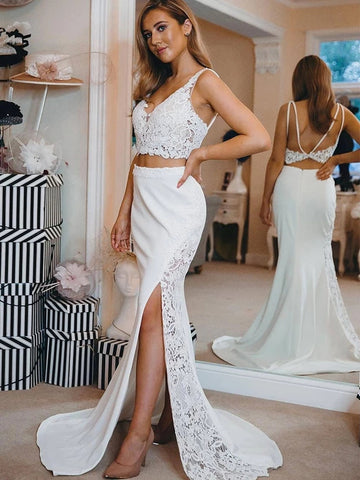 Elegant V Neck Two Pieces Backless Mermaid Lace Top White Prom Dresses with Slit, 2 Piece Mermaid Lace White Formal Graduation Evening Dresses