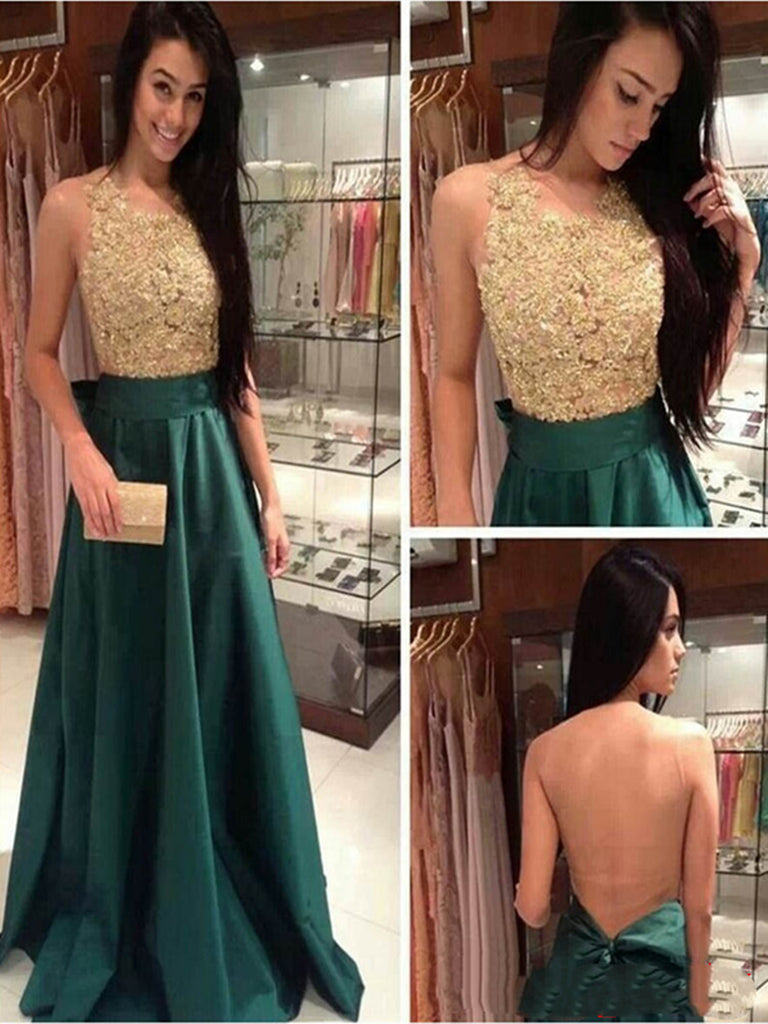 A Line Round Neck Green and Golden Long Prom Dress, Golden and Green Formal Dress