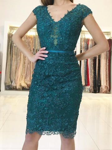 Emerald Green Cap Sleeves Lace Beaded Homecoming Dresses Short Prom Dresses, Green Lace Formal Dresses, Evening Dresses