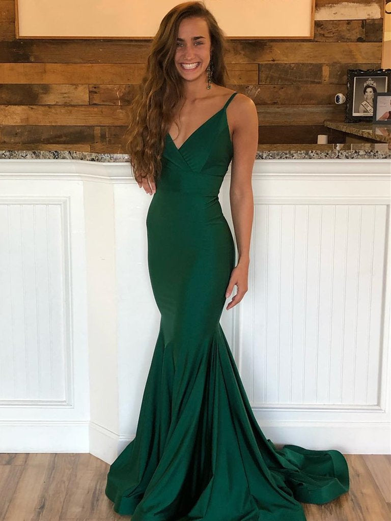 832adcd3b56 Emerald Green V Neck Mermaid Backless Long Prom Dresses with Sweep Tra –  Shiny Party