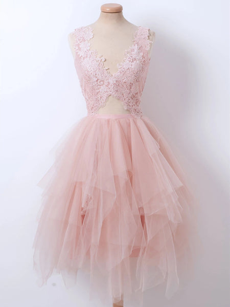 Fluffy V Neck Short Pink Lace Prom Dresses, Pink Lace Formal Graduation Homecoming Dresses