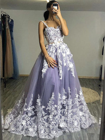 Fluffy White Floral Lace Top Gray Long Prom Dresses, Floral Lace Gray Formal Evening Dresses, Gray Ball Gown