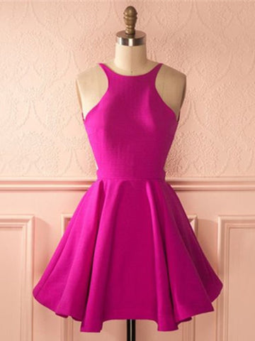 Fuchsia A Line Round Neck Backless Short Prom Dresses, Fuchsia Homecoming Dresses, Backless Graduation Dresses