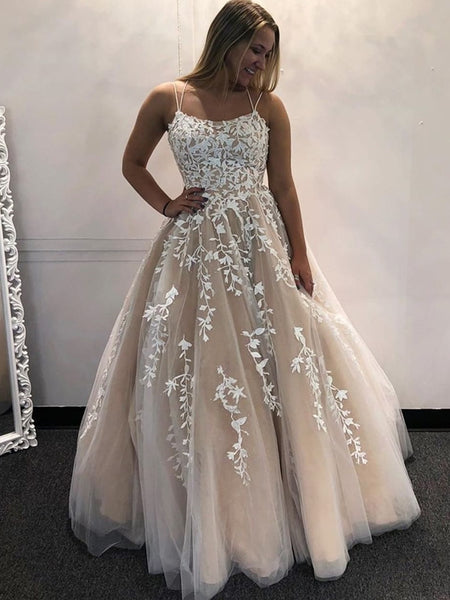 Gorgeous Backless Champagne Lace Long Prom Dresses with Appliques, Champagne Lace Formal Evening Dresses