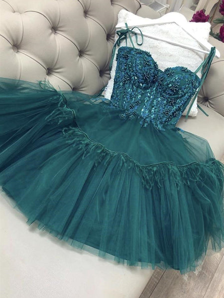 Gorgeous Beaded Short Green Lace Prom Dresses, Green Lace Homecoming Formal Graduation Dresses, Green Cocktail Dresses
