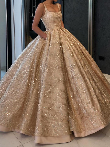 Gorgeous Sequins Golden Long Prom Gown with Pockets, Bling Bling Golden Prom Dresses, Golden Formal Dresses, Evening Dresses