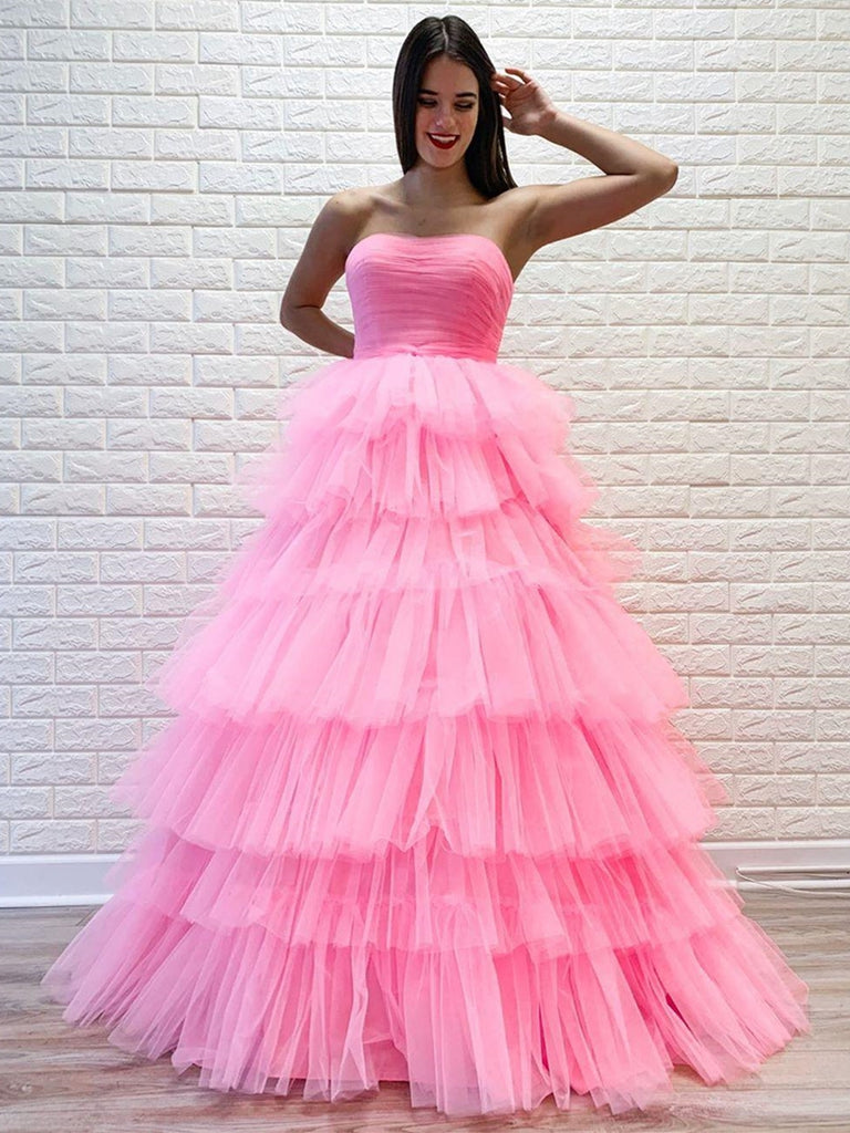 Gorgeous Strapless Layered Pink Long Prom Dresses, Pink Formal Evening Dresses, Layered Pink Ball Gown