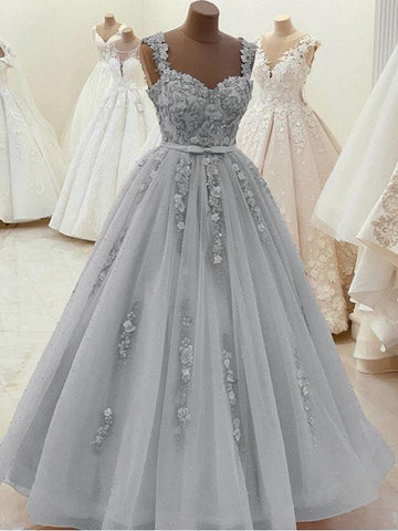 Gorgeous Sweetheart Neck Beaded Gray Lace Prom Dresses, Gray Lace Formal Dresses, Gray Evening Dresses