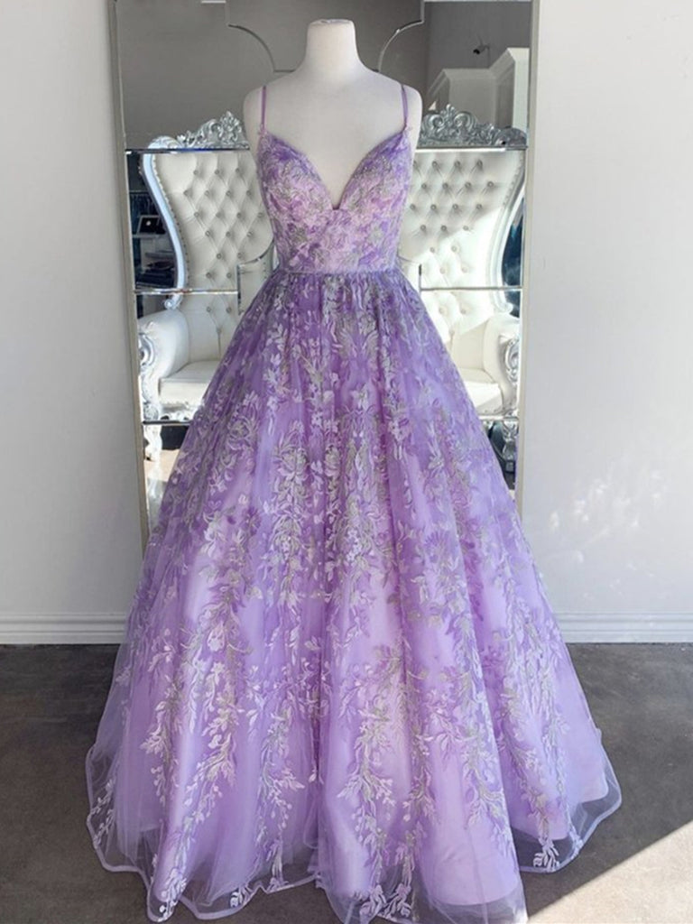 Gorgeous V Neck Backless Beaded Purple Lace Long Prom Dresses, Lilac Lace Formal Dresses, Purple Evening Dresses