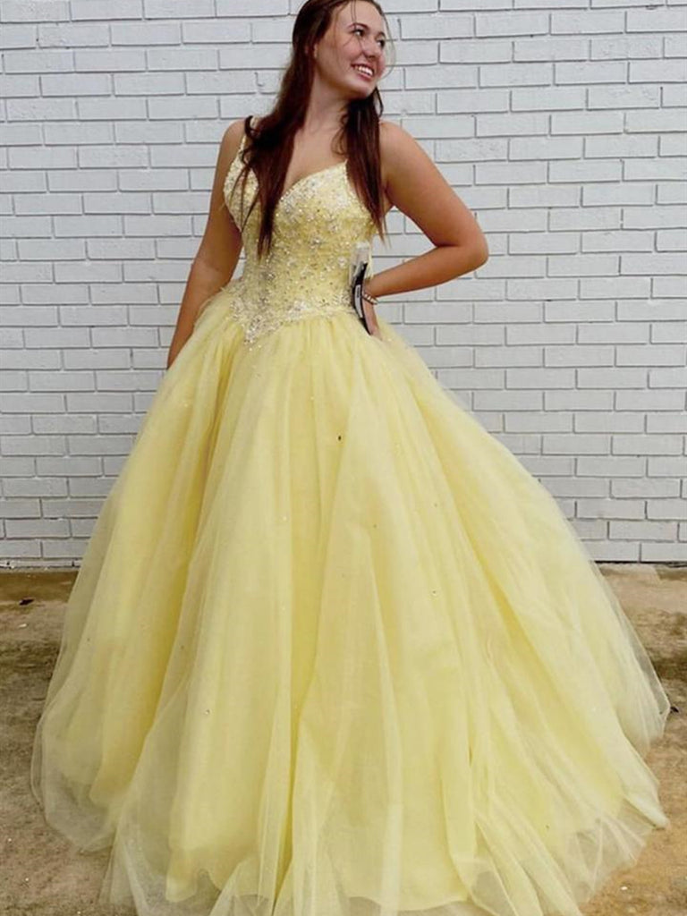 Gorgeous V Neck Beaded Yellow Long Prom Dresses, V Neck Yellow Formal Dresses, Yellow Evening Dresses, Ball Gown