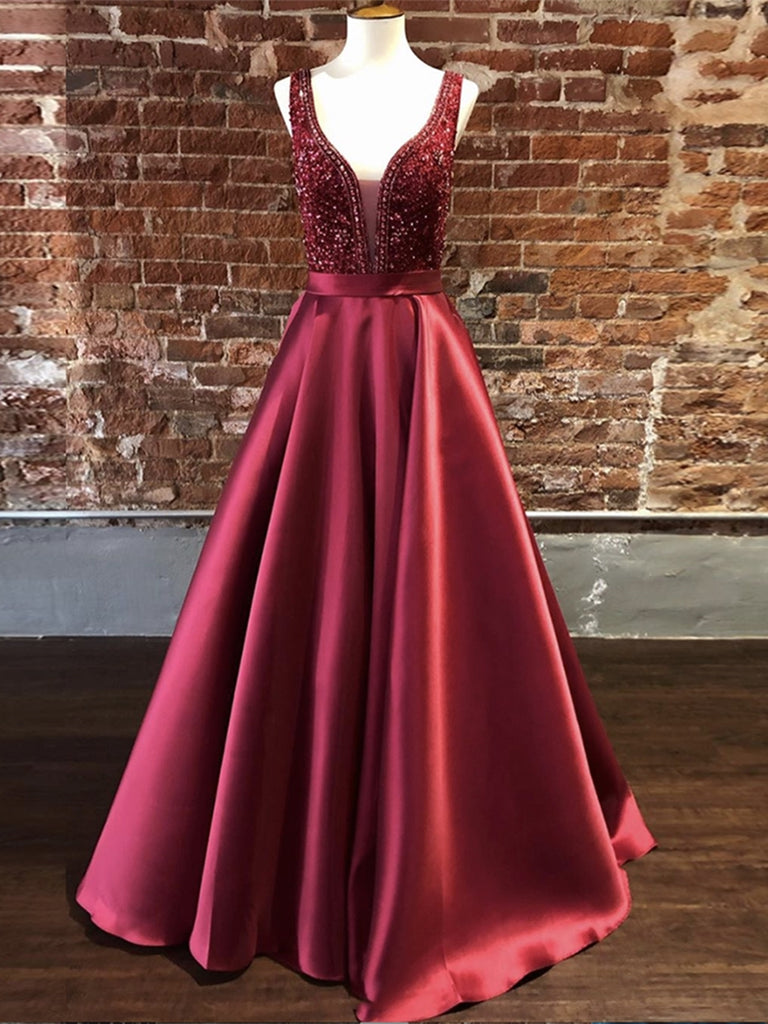 Gorgeous V Neck Burgundy Long Prom Dresses with Beadings, Burgundy Formal Dresses, Evening Dresses