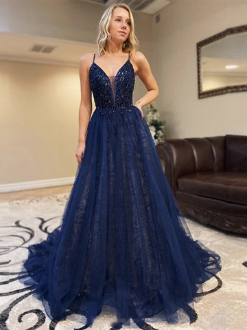 Gorgeous Deep V Neck Sequins Backless Navy Blue Lace Long Prom Dresses 2020, Backless Navy Blue Lace Formal Dresses, Navy Blue Evening Dresses