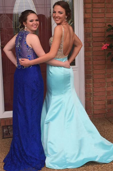 Gorgeous Light Blue Mermaid V Neck Backless Prom Dresses, V Neck Backless Evening Dresses With Beading