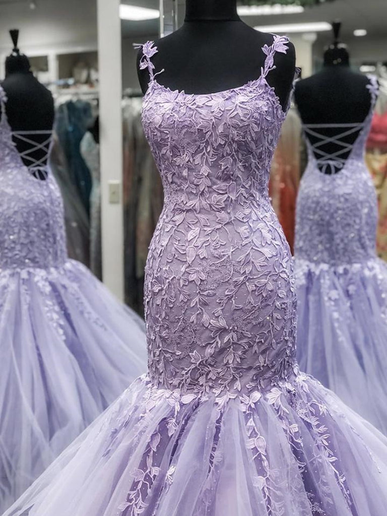 Gorgeous Mermaid Backless Purple Lace Prom Dresses, Mermaid Lace Purple Formal Dresses, Purple Lace Evening Dresses
