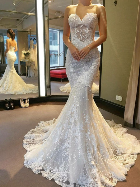 Gorgeous Strapless Mermaid Backless White Lace Wedding Dresses Long Prom Dresses, Mermaid White Lace Formal Dresses, Backless Lace White Evening Dresses