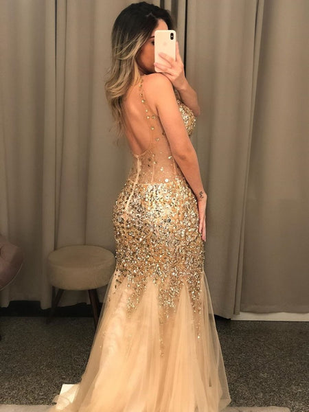 Gorgeous V Neck Mermaid Golden Long Prom Dresses with Rhinestones, Mermadi Golden Formal Dresses, Golden Evening Dresses