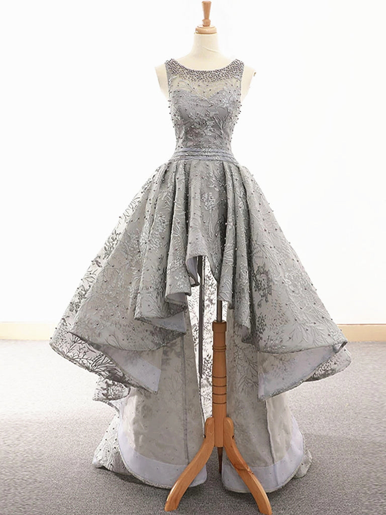 Gray Lace High Low Prom Dresses, Grey High Low Lace Formal Graduation Homecoming Dresses