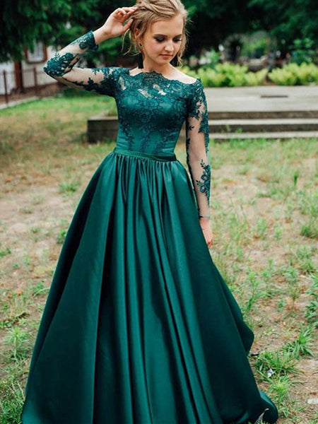 Green Long Sleeves Lace Satin Long Prom Dresses, Green Lace Formal Dresses, Green Lace Evening Dresses