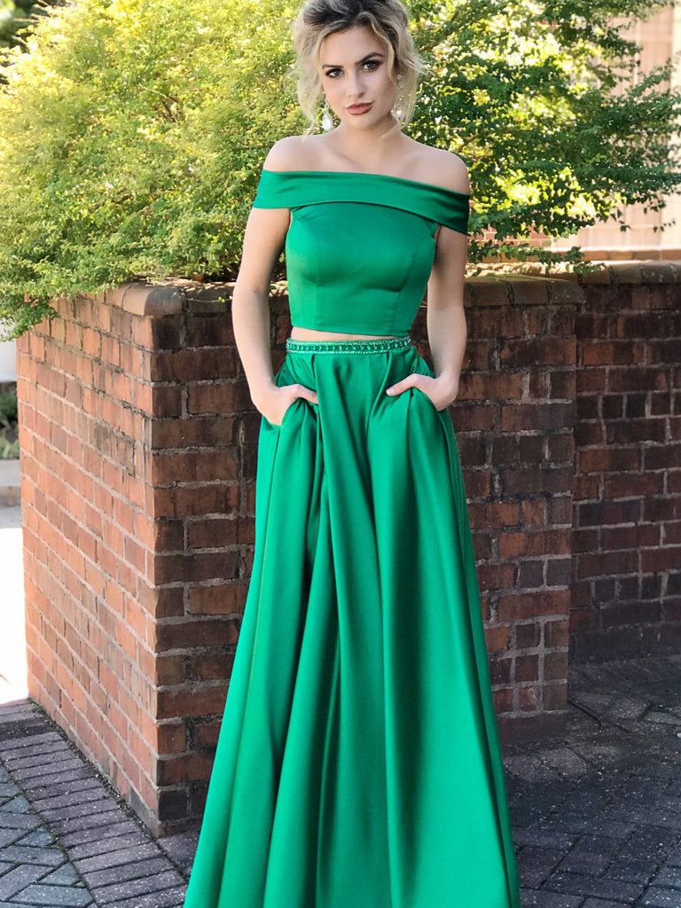 Green Two Pieces Off Shoulder Satin Long Prom Dresses with Pocket, Two Pieces Green Formal Dresses, Green Evening Dresses