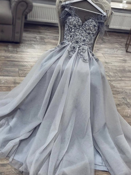Grey Tulle Sweetheart Neck Lace Floral Long Prom Dresses, Grey Lace Floral Formal Dresses, Grey Evening Dresses