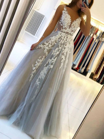 Grey Tulle V Neck White Lace Floral Long Prom Dresses, Long Grey Lace Formal Graduation Evening Dresses