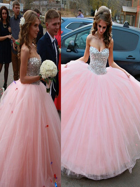 Pink Ball Gown Girls Sweet 16 , Tulle Rhinestone Long Prom Dress, Formal Dresses