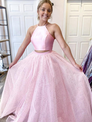Halter Neck 2 Pieces Backless Pink Prom Dresses with Sequins, Two Pieces Pink Formal Dresses, Backless Pink Evening Dresses