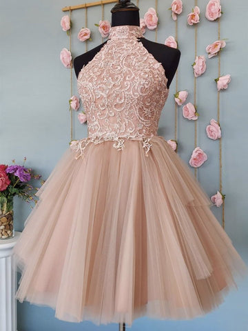 Halter Neck Open Back Champagne Lace Short Prom Dresses, Champagne Lace Formal Graduation Homecoming Dresses