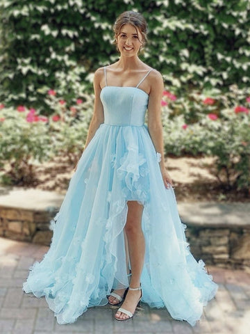 High Low Light Blue Floral Long Prom Dresses, High Low Blue Formal Evening Dresses
