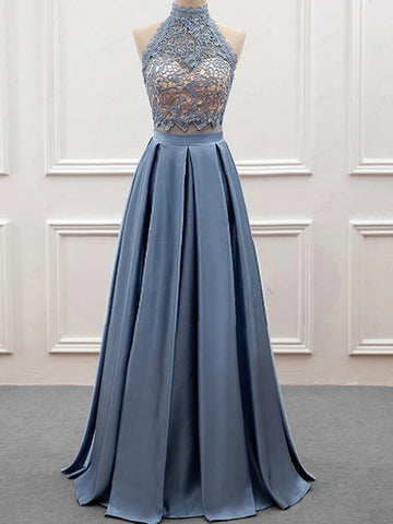 High Neck 2 Pieces Blue Lace Long Prom Dresses, Open Back Two Pieces Blue Lace Formal Evening Dresses